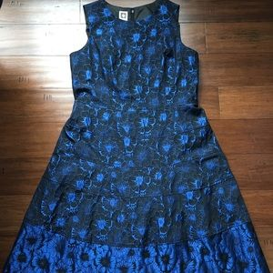 Anne Klein Blue and Black Floral Dress
